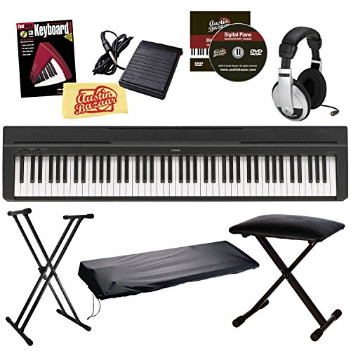 Great Deal! Yamaha P-35 Digital Piano Bundle with Gearlux Double-Braced Stand, Gearlux Padded Bench,...