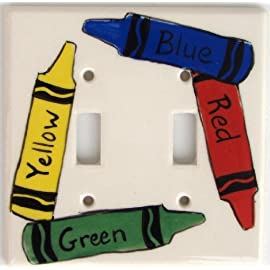 Ceramic Double Switch Plate Cover: Crayon - Red, Blue, Yellow, Green