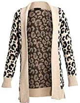 Womens Leopard Knitted Drape Cardigan (Me) (8/10 (uk 12/14), stone)