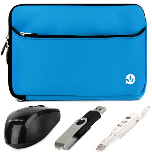 Vg Neoprene Zipper Sleeve Cover (Sky Blue) For Fujitsu Lifebook 13.3 Inch Notebooks / Tablet Pc + Black Sumaclife Wireless Usb Mouse And Adapter + Black 4Gb Flash Memory Thumbdrive + Kallin Universal 3 Port Usb Hub With Micro Usb Charger Cable