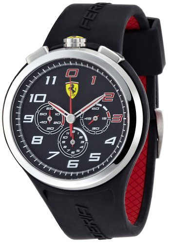 Ferrari 830100 - Reloj analógico de cuarzo para hombre, correa de silicona color negro (cronómetro)