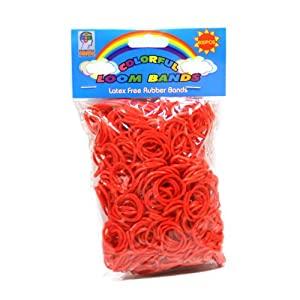 Loom Bandz - Rainbow Colours - Red 600 Count With Clips
