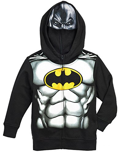 "DC Comics Batman Full Zip Hoodie Jacket ""Mesh Mask"" Boy Size 5"