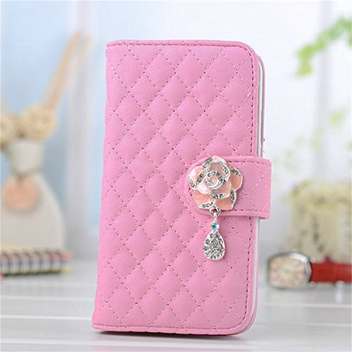 Borch Luxury Rhombus Design Camellia Pendant Purse Fashion Wallet Folio Leather Case Cover For Iphone6 4.7 (Pink) front-48733