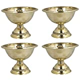Set Of 4 - Handmade Indian Brass Oil Puja Lamp - Diya Lamp Engraved Design 2 X 2.5 X 2.5 Inch