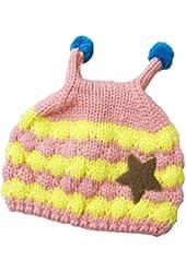 Javier Boy Girl Knit Beanie Crochet Rib Pom Pom Warm Hat/ Cap Pink