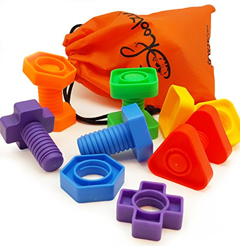 Jumbo-Nuts-and-Bolts-Set-with-Tote-12-Pc-by-Skoolzy-Occupational-Therapy-Matching-Fine-Motor-Toy-for-Toddlers-Preschoolers-Free-Activity-Download