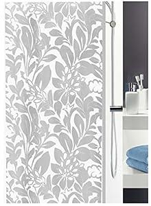 Leifheit Duschvorhang Nora Grey Grau Weiss Textil Polyester, 180 x 200 cm.