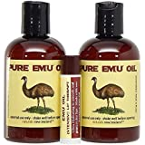 Emu Oil Premium Golden Set of Two 4 oz Bottles and Lip Balm with Shea Butter and Emu Oil (Pack of 3 Products)