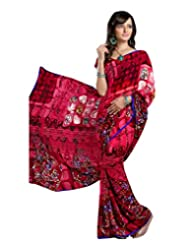 Luster Faux Georgette Red Color Printed Saree-TS19011B