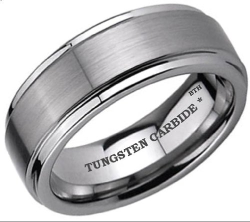 Mens Tungsten Carbide 8mm Wedding Engagement Band Ring Size N -Comes In A Luxury Gift Box - Available In Most Sizes....