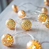 10 Gold Maroq Battery Operated LED Fairy Lights by Lights4fun