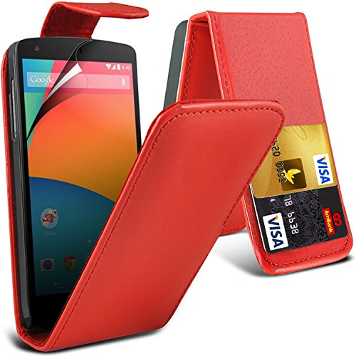 ( Red ) Lg Google Nexus 5 Premium Faux Credit / Debit Card Slot Leather Flip Skin Case Cover & Lcd Screen Protector Guard By Fone-Case