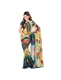 Admyrin Multi Colour Georgette Saree With Green Blouse Piece - B00VQ6IP2W