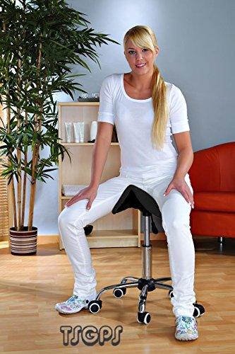 Kosmetik-Arbeitshocker-Massage-Hocker-Sattelform-hhenverstellbar-schwarz