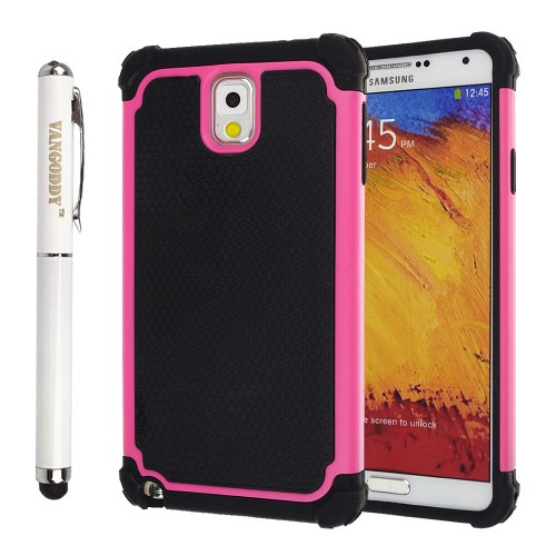 Hybrid Dual Layer Armor Defender Protective Case Cover For Samsung Galaxy Note 3 Iii + Vangoddy Stylus Pen With Laser Pointer And Led Light (Rose)