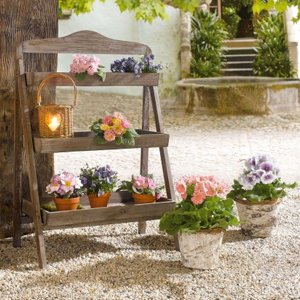 Amazon.com : Outdoor Wooden Plant Stand - Plant Stand for