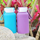 Just Life U-01194 Portable BPA Free Glass Water Bottle with Silicone Sleeve ECO Friendly Beverage Bottle 14oz One Pcs(blue)