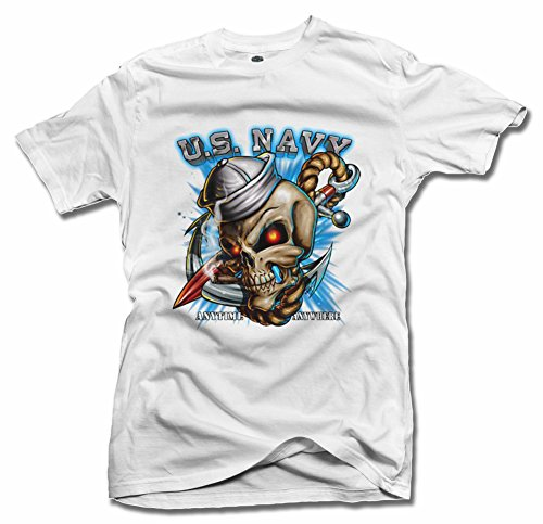 Bad Ass Skull Sailor Us Navy Military T-Shirt L White Men'S Tee (6.1Oz)
