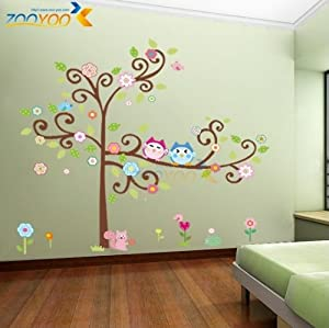 Toprate (TM) Large 59''x57'' Colorful Owl Big Tree Animal Garden Wall Stickers Removable Wall Decal Sticker,Super for Girls and Boys Nursery Baby Room Children's Bedroom from Toprate(TM)
