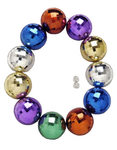 Forum Mardi Gras Parade 48-inch Bead Necklace Super Jumbo Disco Balls, Multi-Colored, One Size