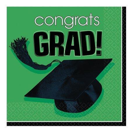 Amscan - Congrats Grad Graduation Green Beverage Napkins