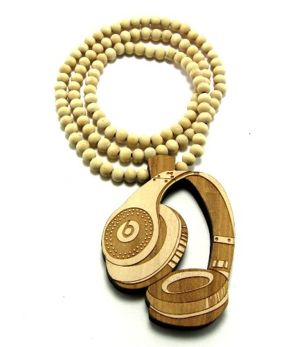 Large Wooden Dr Dre Beats Headphones Natural Good Quality Wood Pendant & Chain