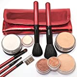 "IQ Natural Large Mineral Makeup Kit 12pc (LIGHT FAIR shade) - Concealer, Bronzer, Eye Shadow, Setting Powder, 2 Full Size Mineral Foundation - Natural Flawless Look - ""LIGHT FAIR"" natural makeup"