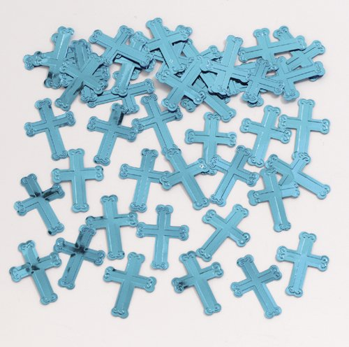 Blue Embossed Cross Confetti (.5 oz bag)