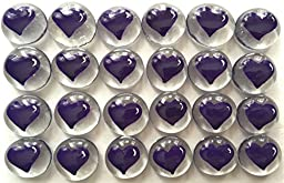 Jazzy Glass Gems, Hand Painted Set of 24, Party Supplies, Party Favor, Decoration, Purple Heart