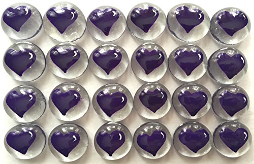 Jazzy Glass Gems, Hand Painted Set of 24, Party Supplies, Party Favor, Decoration, Purple Heart (Patriots Party Supplies)