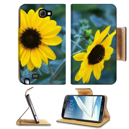 Two Yellow Sunflowers Flower Petals Nature Beauty Tall Fresh Samsung Galaxy Note 2 N7100 Flip Case Stand Magnetic Cover Open Ports Customized Made To Order Support Ready Premium Deluxe Pu Leather 6 1/16 Inch (154Mm) X 3 5/16 Inch (84Mm) X 9/16 Inch (14Mm) front-952562