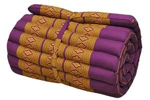 Matelas Thai 1 p., tapis, appoint, détente, repos, gym, méditation, yoga, plage, piscine, fabriqué en Thaïlande, mauve/jaune (81413)