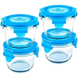 Wean Green Round Wean Bowls 6oz/165ml Baby Food Glass Containers - Blueberry (Set of 4)