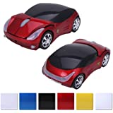HDE Cool Sports Car Wireless Optical Mouse With Chrome Rims with USB Receiver (California Red)