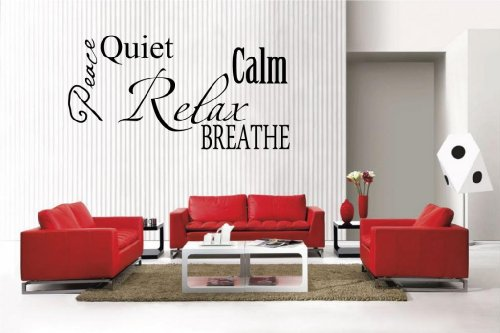 Newclew Relax Peace Calm Quiet Breathe Collage Removable Vinyl Wall Quote Decal Home Décor Large