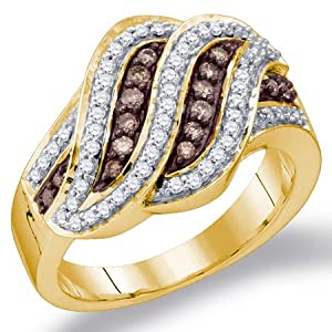 Chocolate Brown Diamond Ring Fashion Band 10k Yellow Gold (1/2 ct.tw.), size 6