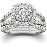 1.10CT Cushion Halo Diamond Engagement Wedding Ring Set 10K White Gold