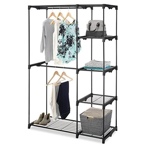 """Whitmor Freestanding Portable Closet Organizer – Heavy Duty Black Steel Frame - Double Rod Wardrobe Cloths Storage With 5 Shelves & Shoe Rack for Home or Office – Size: 45-1/4 x 19-1/4 x 68"""""""