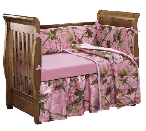 Hiend Accents Oak Camo Crib Set, Pink