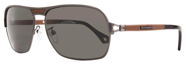 Ermenegildo Zegna Sunglasses SZ3339 H68P Matte Gunmetal/Brown Leather