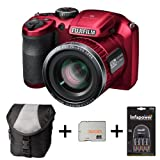 Fujifilm FinePix S4800 - Red + Case + 32GB Memory + 4 AA Batteries and Charger (16 MP, 30x Optical Zoom) 3.0 inch LCD