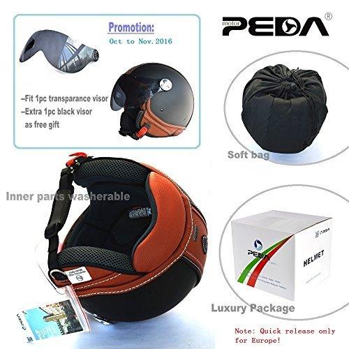 PEDA Italian Design (MOCA B) ECE DOT Motorcycle Helmet,Unisex Open Face ITALY Jet Sport Urban Vintage CASCOS,Leather Style,Capacete,Half Helmet (Medium) 4