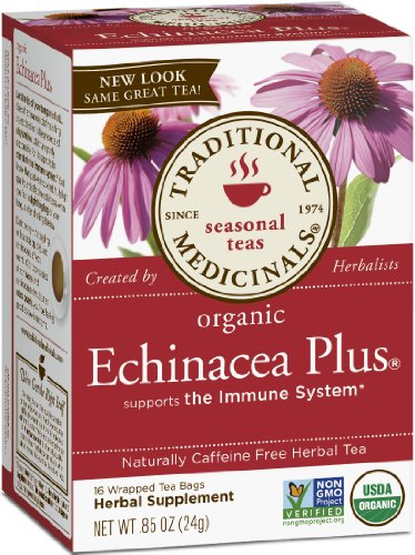 Traditional Medicinals Organic Echinacea Plus, Net Wt. 0.85 Oz, 16-Count Box (Pack Of 6)