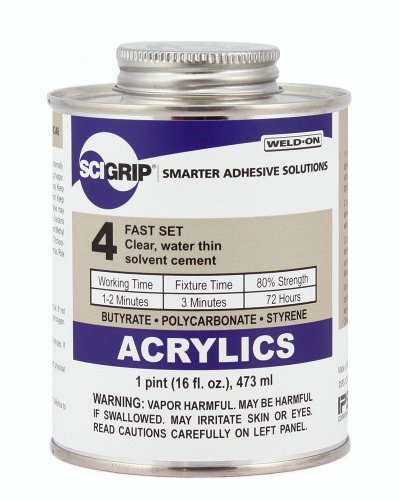 SCIGRIP 4 Acrylic Solvent Cement, Water-thin, 1 Pint Can with Screw-On Cap, Clear