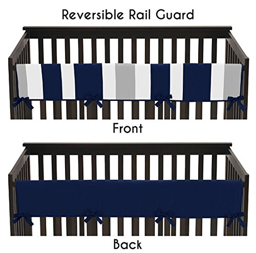 Baby-Crib-Long-Rail-Guard-Cover-for-Navy-and-Gray-Stripe-Print-Bedding-Collection