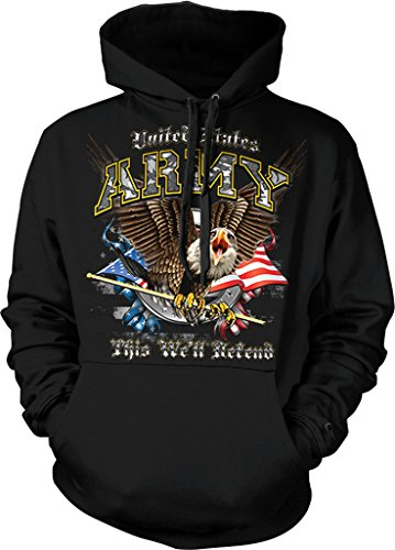 US Army, This We'll Defend, Eagle with American Flag Hooded Sweatshirt, NOFO Clothing Co. L Black