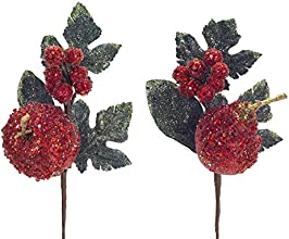 Pack of 12 Decorative Red and Green Artificial Glittered Apple and Pear Craft Picks 12quot