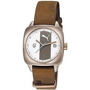 Puma PU103402001 Women's White & Grey Dial Brown Leather Strap Watch
