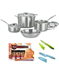 Cuisinart MCP-7N MultiClad Pro Stainless-Steel 7-Piece Cookware Set + Kamenstein Mini Measuring Spoons Spice Set + Accessory Kit by Cuisinart